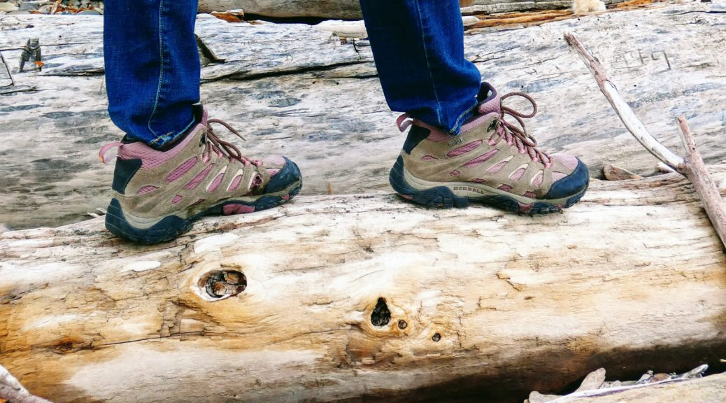 Merrell Moab 2 women's hiking boots on log