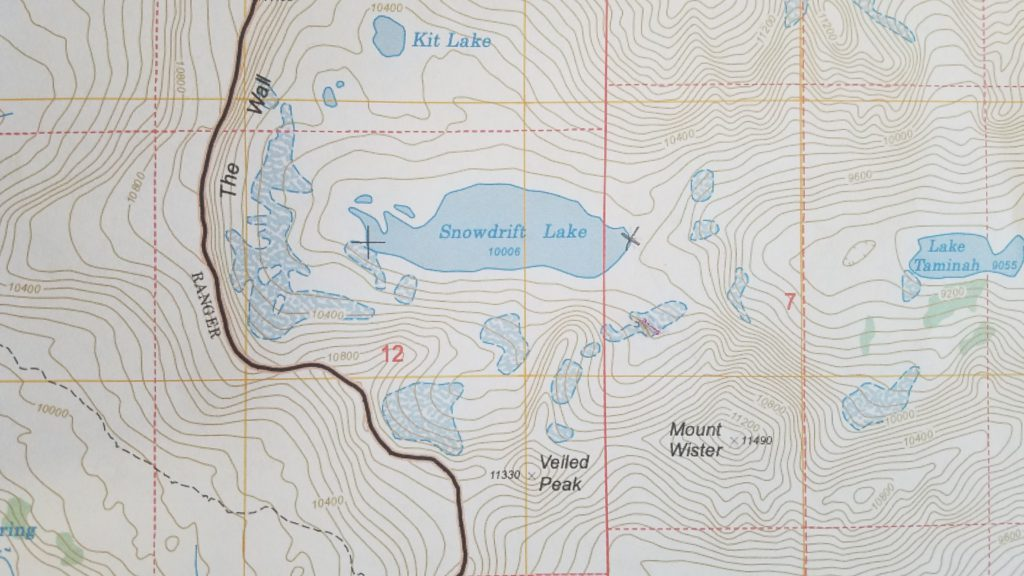 Topo map around Snowdrift Lake