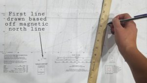 Drawing meridian lines adjusted for declination
