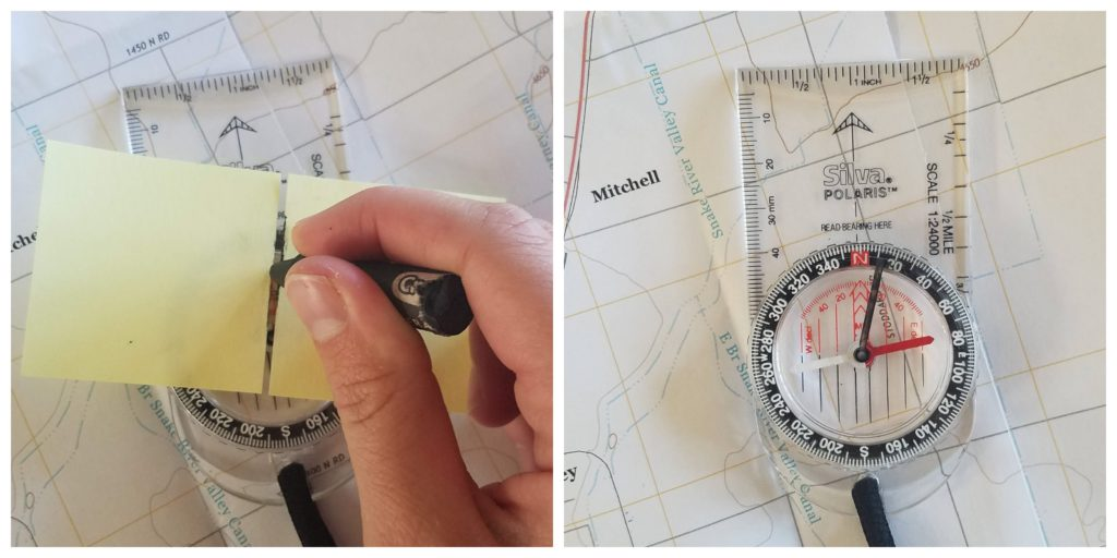 Draw a declination line on the compass