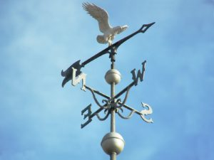 A weathervane shows the cardinal directions
