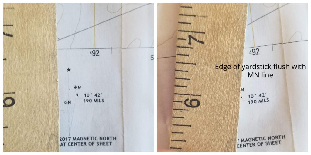 Yardstick flush with magnetic north line